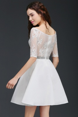 ALICIA   Une ligne bijou blanc manches courtes robes de retour en satin avec dentelle_5
