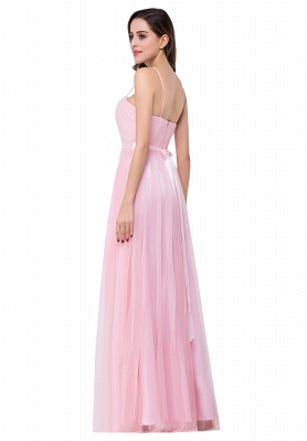 Simple Spaghetti-Straps Ruffles A-Line Pink Open-Back Evening Dress_5