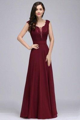 CORINNE   A-line Floor-length Lace Burgundy Elegant Prom Dress_6