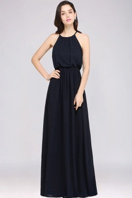 CHEYENNE   A-line Floor-length Chiffon Navy Blue Simple Prom Dress_8