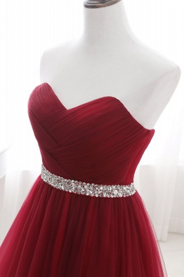 Custom Made Fluffy Tulle A-line Sweetheart Burgundy Prom Dresses Cheap With Beads Belt_13