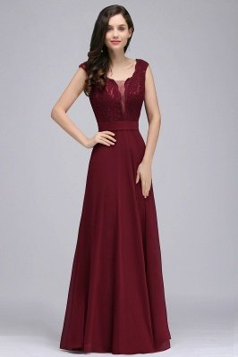 CORINNE   A-line Floor-length Lace Burgundy Elegant Prom Dress_1