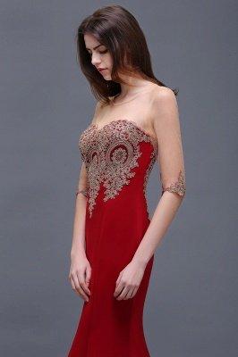 BELLA | Sheath Round Neck Floor-Length Burgundy Prom Dresses With Applique_9