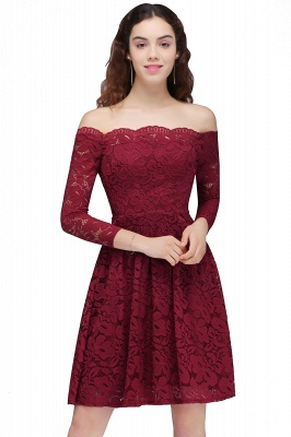 BRINLEY   A-Line Off-the-Shoulder Short Lace Burgundy Homecoming Dresses_2