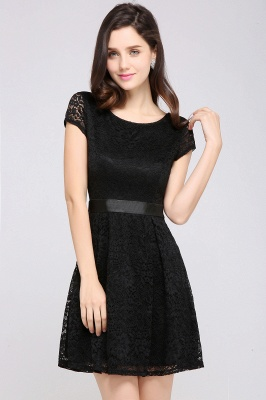 ARMANI | A-line Scoop Black Lace Cheap Homecoming Dress with Sash_10