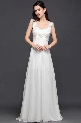 AYLA | A-line Sweetheart Chiffon White Evening Dress With Lace_1