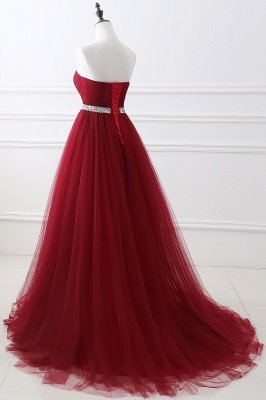 Custom Made Fluffy Tulle A-line Sweetheart Burgundy Prom Dresses Cheap With Beads Belt_12