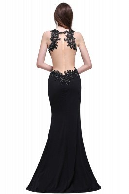 BLAKELY | Sheath Round Neck Floor-Length Black Prom Dresses With Crystal_3