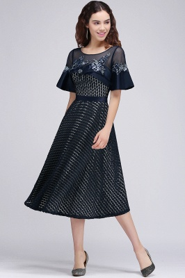 BRIELLA | A-Line Round Neck Tea-Length Dark Navy Homecoming Dresses With Applique_4