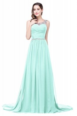 AIMEE | A-line Court Train Chiffon Party Dress With  Beading_7
