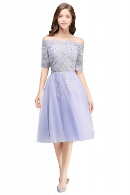 ADILYNN | A-line Bateau Tulle Prom Dress with Appliques_6
