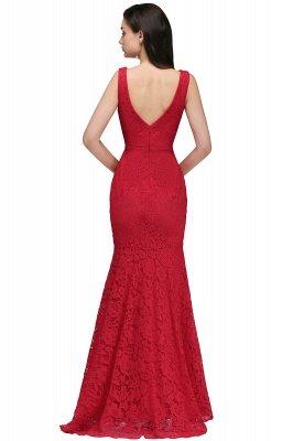 CLARISSA  Mermaid Floor-length Lace Red Prom Dress_9