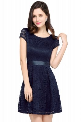 ARMANI | A-line Scoop Black Lace Cheap Homecoming Dress with Sash_5