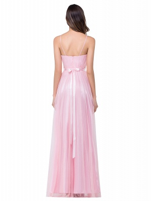 Simple Spaghetti-Straps Ruffles A-Line Pink Open-Back Evening Dress_3