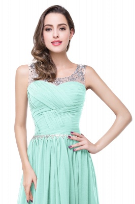 AIMEE | A-line Court Train Chiffon Party Dress With  Beading_12