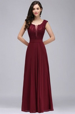 CORINNE   A-line Floor-length Lace Burgundy Elegant Prom Dress_10