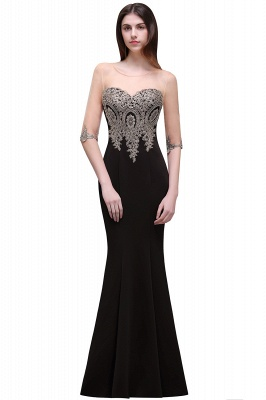 BELLA | Sheath Round Neck Floor-Length Burgundy Prom Dresses With Applique_5