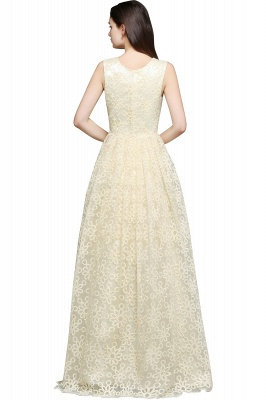 AYA | A-line Scoop Floor Length Evening Dress With Lace_3