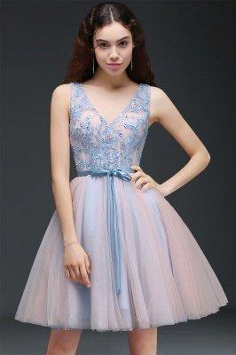 V-Neck Puffy Sky-Blue Flowers-Beaded Fairy Homecoming Dresses_1