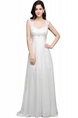 AYLA | A-line Sweetheart Chiffon White Evening Dress With Lace_2