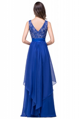 ADDISON | A-line Floor-length Chiffon Evening Dress with Lace_6