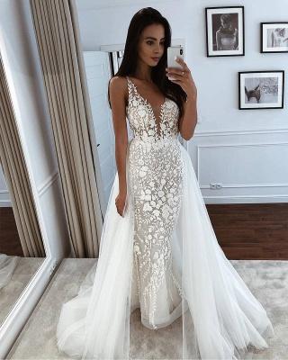 Spaghetti Straps Appliques Wedding Dresses With Detachable Train | V-neck Mermaid Cheap Bridal Gowns_2