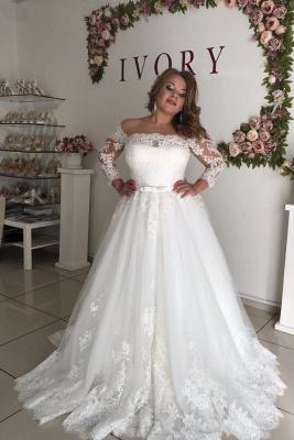 Off The Shoulder Lace Long Sleeve Wedding Dresses | Belt A-line Appliques Bridal Gowns_1