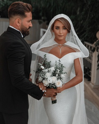 Off The Shoulder Sparkling Sequins Wedding Dresses | Mermaid Floor Length Bridal Gowns With Shawl_6