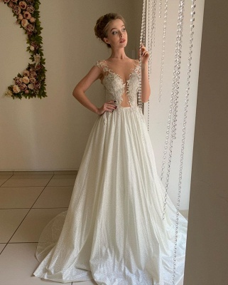 Sheer Tulle Appliques Sweetheart Wedding Dresses | A-line Sleeveless Cheap Bridal Gowns_2
