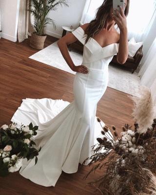 Schulterfrei Rüschen Meerjungfrau Brautkleider | Bodenlange Brautkleider mit kurzen Ärmeln_3