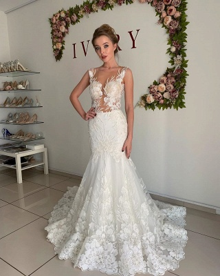 Straps Appliques Mermaid Wedding Dresses | Pleated Sheer tulle Cheap Bridal Gowns_3