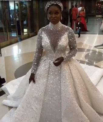 Luxury Beads High Neck Ball Gown Wedding Dresses | Sparkling Long Sleeves Bridal Gowns_4