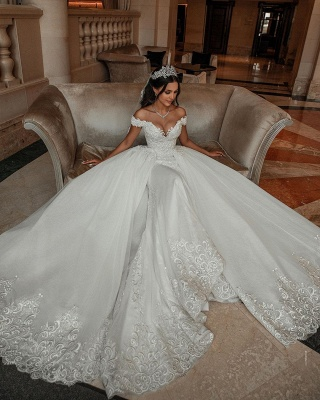Off The Shoulder Appliques Sheath Wedding Dresses | Sweetheart Tulle Bridal Gowns with Lace Detachable Train_2