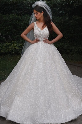 Straps Beads Appliques Ball Gown Wedding Dresses | Floral Backless V-neck Bridal Gowns_1