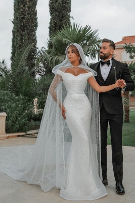 Off The Shoulder Sparkling Sequins Wedding Dresses | Mermaid Floor Length Bridal Gowns With Shawl_1