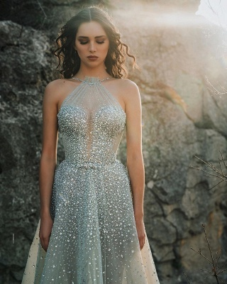 Halter Sparkling Beads Crystal Prom Dresses | Luxury Sleeveless Sheer Tulle Evening Gowns_2