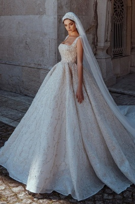 Luxury Straps Shiny Crystal Ball Gown Wedding Dresses | Beading Square collar Bridal Gowns Online_1