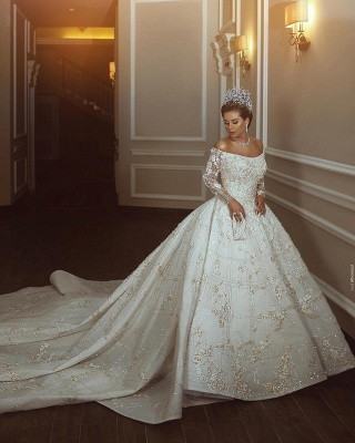 Off The Shoulder Shiny Appliques Ball Gown Wedding Dresses | Lace Long Sleeves Bridal Gowns_4
