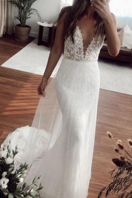 V-neck Spaghetti Straps Lace Appliques Wedding Dresses | Mermaid Floor Length Bridal Gowns_1