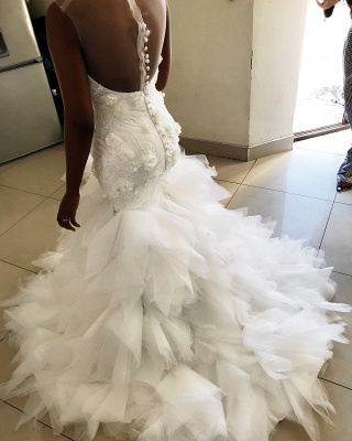 Flowers Appliques Mermaid sleeveless Wedding Dresses | Sheer Tulle Ruffles Bridal Gowns_2