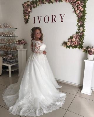 Off The Shoulder Lace Long Sleeve Wedding Dresses | Belt A-line Appliques Bridal Gowns_2