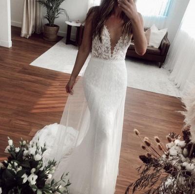V-neck Spaghetti Straps Lace Appliques Wedding Dresses | Mermaid Floor Length Bridal Gowns_3