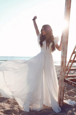 A-line Chiffon V-neck Cheap Wedding Dresses | Sexy Short Sleeve Floor Length Tulle Bridal Gowns_1