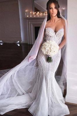 Strapless Shiny Beading Sweetheart Wedding Dresses | Mermaid Floor Length Sleeveless Bridal Gowns_1