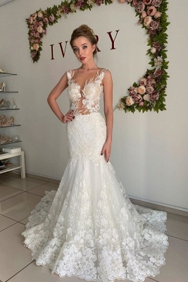 Straps Appliques Mermaid Wedding Dresses | Pleated Sheer tulle Cheap Bridal Gowns_1