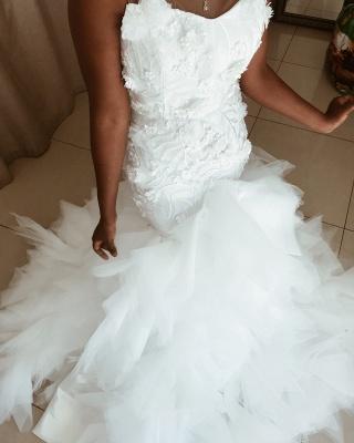 Flowers Appliques Mermaid sleeveless Wedding Dresses | Sheer Tulle Ruffles Bridal Gowns_3
