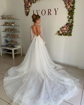 A-line Chiffon Sexy V-neck Wedding Dresses | Long Sleeve Flower Cheap Bridal Gowns_2