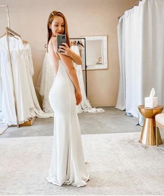 Spaghetti Straps V-neck Sheath Cheap Wedding Dresses | Sexy Backless Floor Length Bridal Gowns_2
