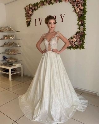 Sheer Tulle Appliques Sweetheart Wedding Dresses | A-line Sleeveless Cheap Bridal Gowns_3