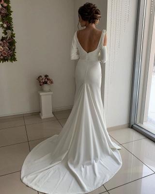 Long Sleeve Sash Belt Cheap Wedding Dresses | Sexy Backless Sheath Bridal Gowns Online_2